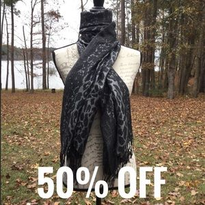 Fringed Black & Silver Shimmer Cheetah Scarf